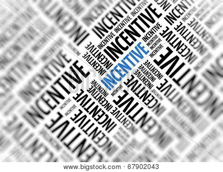 Marketing background with the word - Incentive - repeated in random sizes and orientations in black text with one central word in large blue uppercase lettering and selective focus