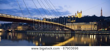 Panoramic View Of Saone River At Lyon By Night