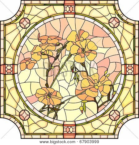 Vector Illustration Of Flower Orange Flax.