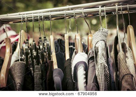Clothes On A Rack On A Flea Market