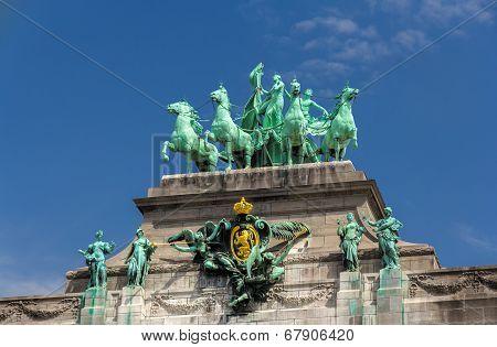 Sculptures On Cinquantenaire Arch In Brussels, Belgium