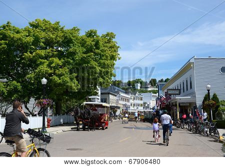 Downtown Mackinac Island From Park
