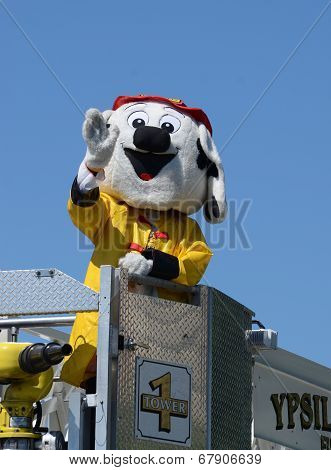 Fire And Rescue Mascot At The Ypsilanti, Mi 4Th Of July Parade