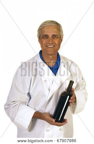 Smiling Enologist presenting a new wine that he is happy with, isolated over white