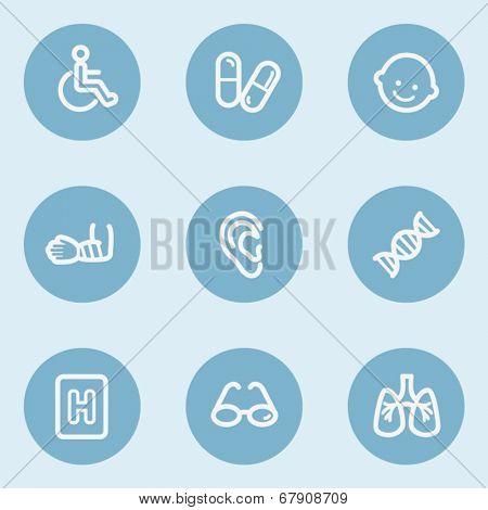 Medicine  web icon set 2, blue buttons