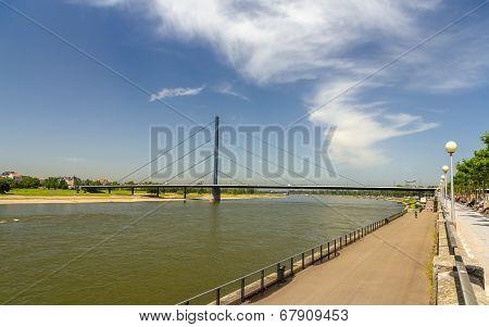 Oberkasseler Bridge In Dusseldorf, Germany