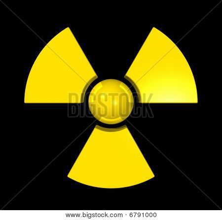 3D Radioactive Symbol isolated on black