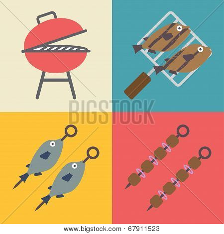 Set of grill icons for outdoor and cooking. Vector icons