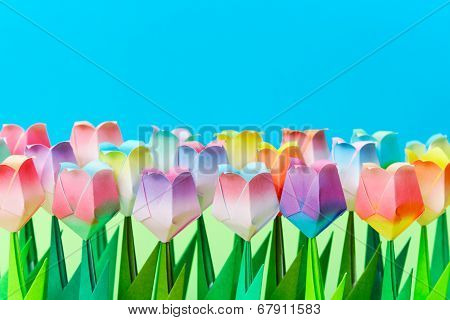 Paper Tulip Field With A Blue Background