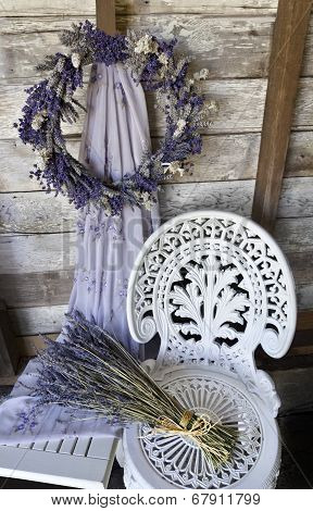 Lavender Wreath with white wrought iron chair and dried lavender