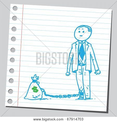 Businessman chained with money bag