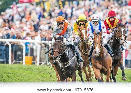 Jockeys Into Last Curve At The Nationaldags Galoppen In Gardet