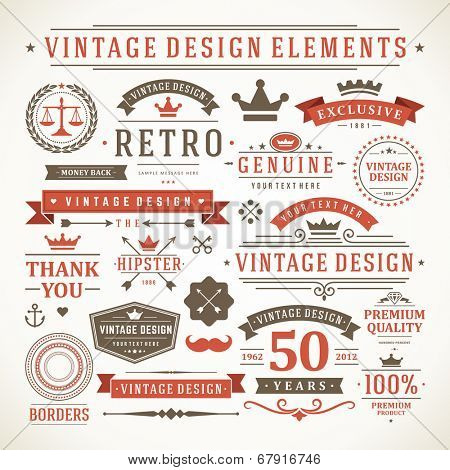 Vintage vector design elements. Retro style typographic, flourishes and calligraphic objects.Labels, ribbons, symbols, tags, badges, stamps, arrows and emblems set.