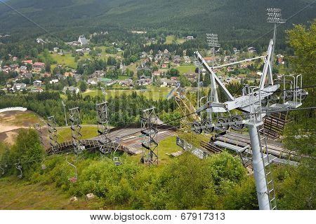 Harrachov In Summer With View To Ski Jump And Chairlift