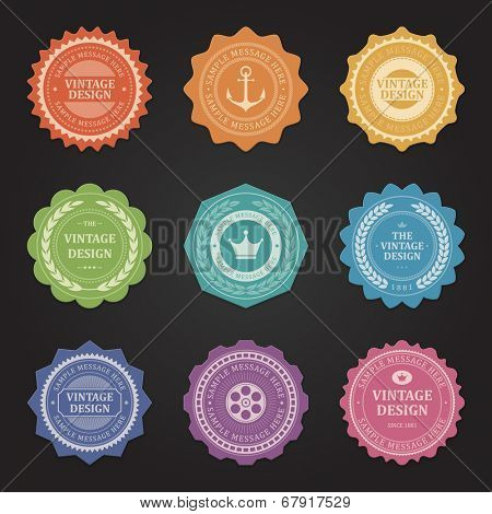 Vintage vector design elements. Retro style typographic labels,  tags, badges, stamps, arrows and emblems set.