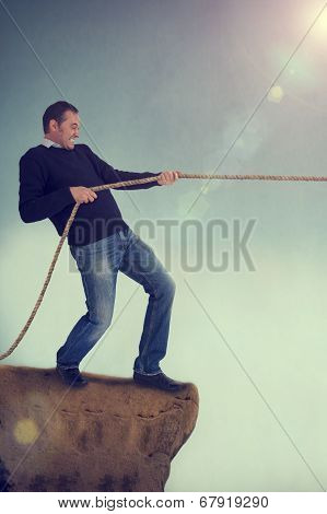 Man Tug Of War Pulling Rope