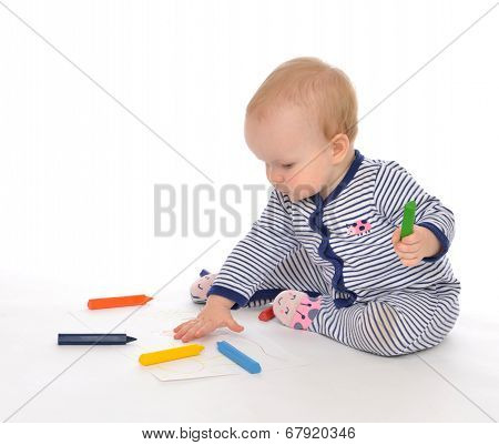 Infant Child Baby Toddler Sitting Drawing Painting With Color Pencils Crayons