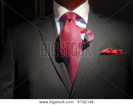 Striped Jacket With Red Striped Tie And Handkerchief