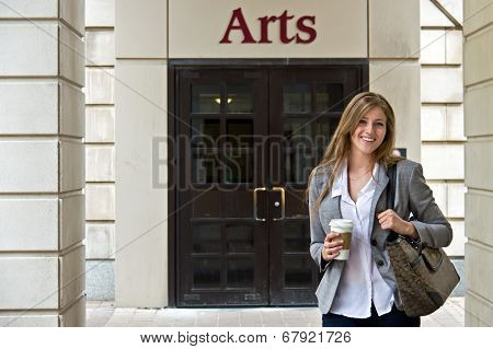Portrait Of Attractive Female University Student Outside Campus Building