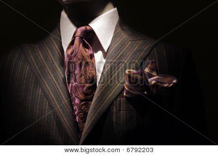 Dark Brown Striped Jacket, Purple Tie And Handkerchief