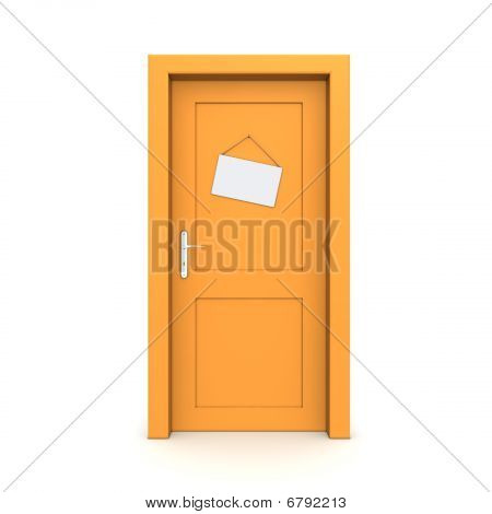 Closed Orange Door With Dummy Door Sign