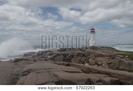 Peggys Cove's Lighthouse At Storm