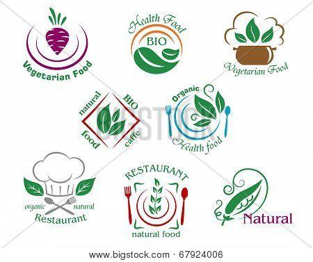 Assorted restaurant and vegetarian food symbols