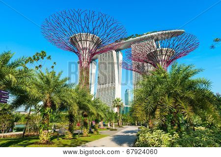 Marina Bay Sands And Supertrees At Gardens By The Bay.