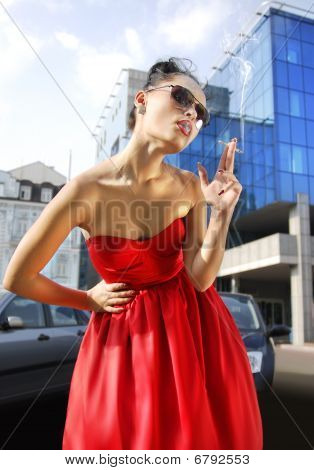 Smoking Lady In Red Dress