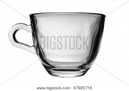 an empty glass cup on a white background