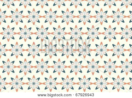 Abstract Orange Bloom Pattern In Boomerang Shape On Pastel Color