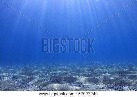 Underwater ocean background blue sea