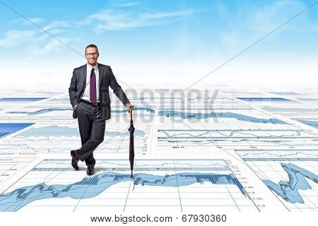 happy businessman on 3d finace background