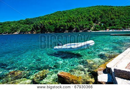 inflatable raft and wonderful croatian sea