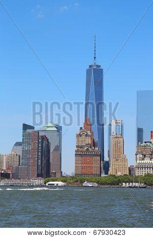 Lower Manhattan skyline panorama from Governors Island