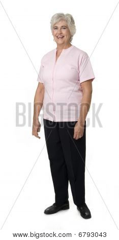 Mature Woman On White Background