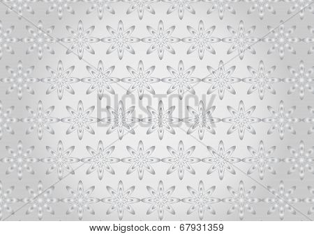 Silver Abstract Blue Bloom Pattern In Boomerang Shape On Pastel Color