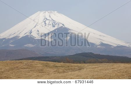 mountain fuji in winter season from gotenba