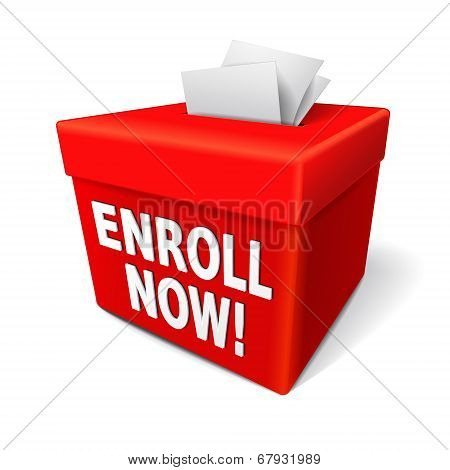 The Word Enroll Now On The Red Box