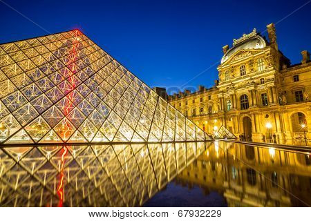 Paris - June 18: Louvre museum at dusk on June 18, 2014 in Paris. This is one of the most popular tourist destinations in France displayed over 60,000 square meters of exhibition space..