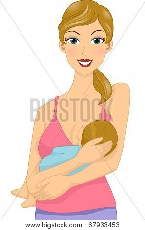 Illustration of a Young Mother Breastfeeding Her Baby