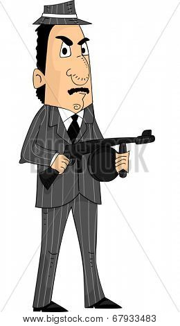 Illustration of a Mafia Member Holding a Machine Gun