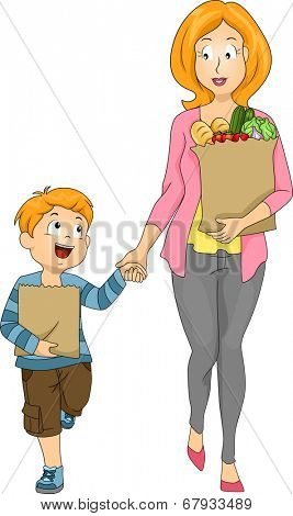 Illustration of a Mother and Son Carrying Bags of Groceries