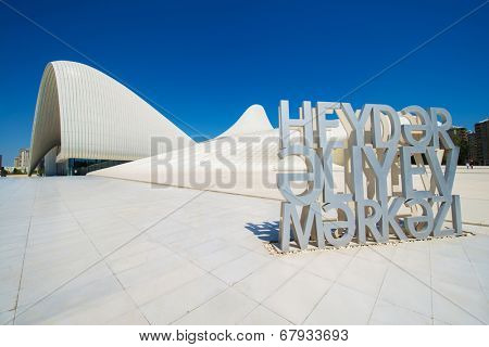 BAKU- MAY 03: Heydar Aliyev Center on May 3, 2014 in Baku, Azerbaijan. Heydar Aliyev Center won the Design Museum's Designs of the Year Award in 2014