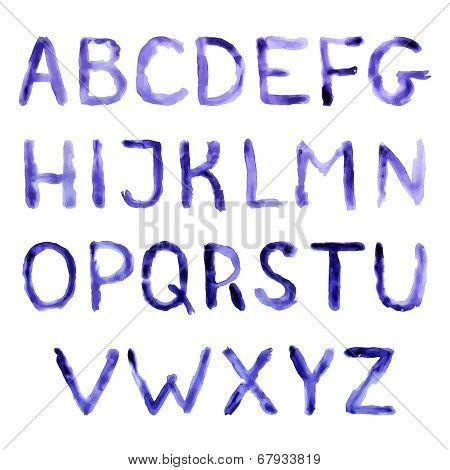 Watercolor handwritten alphabet.  Eps10 vector.