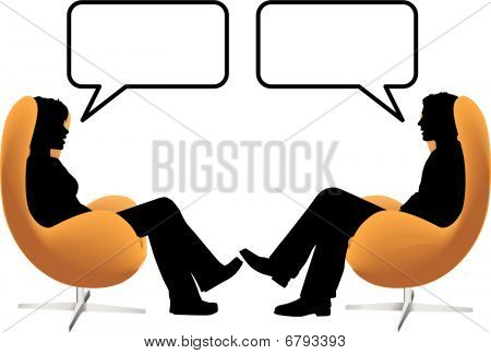 Man Woman Couple Sit Talk In Egg Chairs