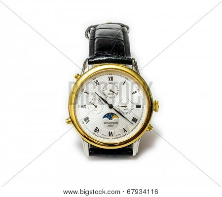 GOMEL, BELARUS - MAY 23, 2014: ROMANSON Adel Moon Phase wristwatch on a white background. Romnason this South Korean watch company.