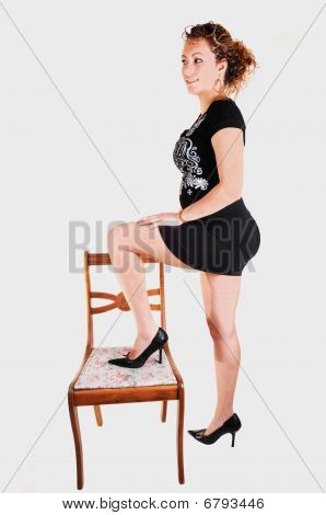 Tall Girl In Black Dress.