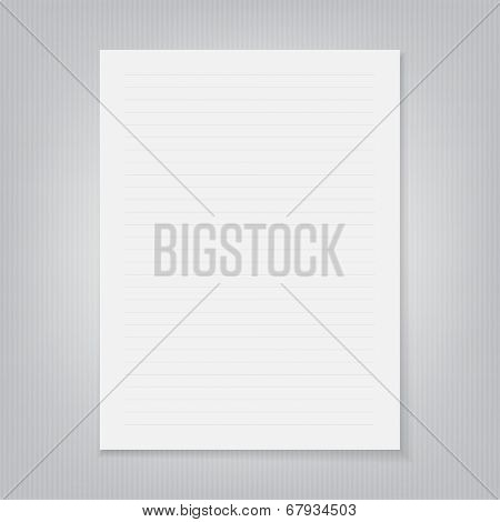 blank sheet of paper on a gray striped background