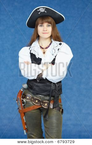 Woman - Sea Pirate On Blue Background With Pistol